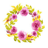 Colorful watercolor loose floral wreath. Hand painted circle arrangement with pink peonies