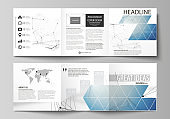 Set of business templates for tri fold square design brochures. Leaflet cover, abstract vector layout. Geometric blue color background, molecule structure, science concept. Connected lines and dots