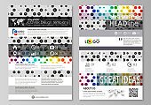 Blog graphic business templates. Page website template, abstract vector layout. Chemistry pattern, hexagonal design molecule structure, scientific, medical DNA research. Geometric colorful background