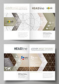 Business templates for bi fold brochure, magazine, flyer, booklet or annual report. Cover design template, abstract vector layout in A4 size. Alchemical theme. Fractal art background. Sacred geometry