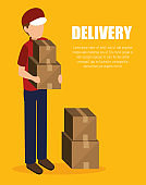 man delivering boxes design isolated