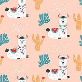 Cartoon Llama Alpaca seamless repeat pattern