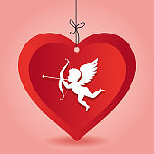 cupid love heart hanging pink background