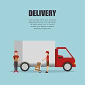delivery truck transporting design isolated
