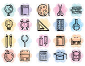 back to school set icons drawings