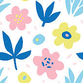 Hand drawn colorful floral seamless repeat pattern