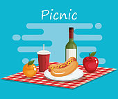 tableclothes picnic with food scene
