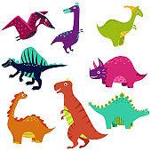 Vector dinosaur kid illustration dino set isolated on white background