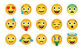 Emoji set. Cute funny emotional icons
