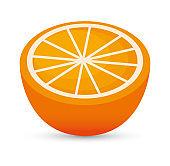 juicy orange sliced healthy food icon design