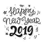 Happy New Year 2019 poster, banner, greeting card, gift tag, mug template