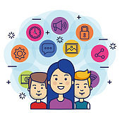 group of people with social media marketing icons