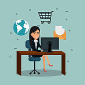 businesswoman in the office with e-mail marketing icons