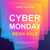 Cyber Monday sale. Vector trendy promotional web banner