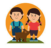 Kids with dog pet