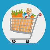supermarket products in shopping cart