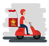 delivery service with courier in motorcycle