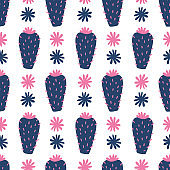 Hand drawn floral mexican cacti seamless repeat pattern