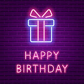 Happy Birthday Neon Glowing text and Gift box shape