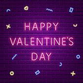Happy Valentine's Day. Neon Glowing Text