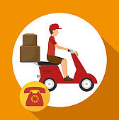 man courier service package telephone