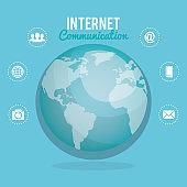 world planet with internet communication
