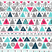 Vector seamless pattern with ethnic tribal boho triangle ornaments