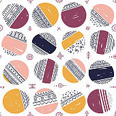 Vector seamless pattern with ethnic tribal boho circles