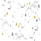 Vector seamless pattern with man walking in mountains
