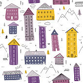 Houses in mountains seamless pattern