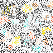 Vector seamless pattern with abstract marker doodling colorful lines and dots