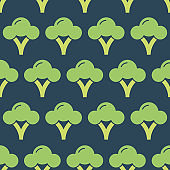 Seamless pattern with broccoli