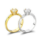 3D illustration two isolated yellow and white gold or silver traditional solitaire engagement diamond rings with shadow