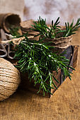 Branches of raw rosemary