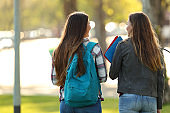 Back view of two students walking and talking