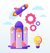 New rocket flying to sky. Start up new business project beginning banner. Vector flat cartoon graphic design illustration