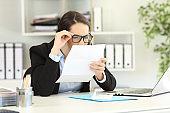 Office employee having eyesight problems