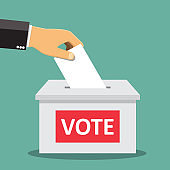 Hand putting paper in the ballot box - vector illustration.