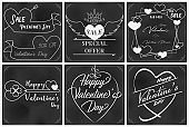 Valentine chalkboard art with sixth elements