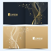 Modern vector template for square brochure, leaflet, flyer, cover, catalog, magazine or annual report . Business, science and technology design book layout. Presentation with golden waves