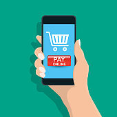 Pay online ,Man holding mobile phone ,payment online in the screen - Vector illustration.