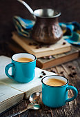 Cup of coffee on wooden table. Coffee Espresso