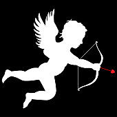 silhouette cupid on the black background
