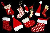 Christmas Stockings and Santa Hats