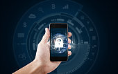 Mobile device security and internet connection . Hand using mobile smart phone and lock icon. Element of this image are furnished by NASA