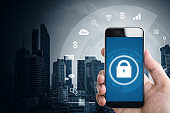 Mobile application and internet online security system. Hand using mobile smart phone with lock  and application icons