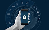 Mobile application and internet online security system technology. Hand using mobile smart phone with lock and application icon