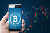 Hand holding mobile smartphone with B symbol of Bitcoin, internet banking and block chain on screen and raising graph background