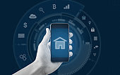 Smart home and buildings mobile application. Hand holding mobile smart phone