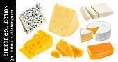 Various types of cheese isolated. Cheddar, parmesan, emmental, blu cheese, camembert, feta on white background